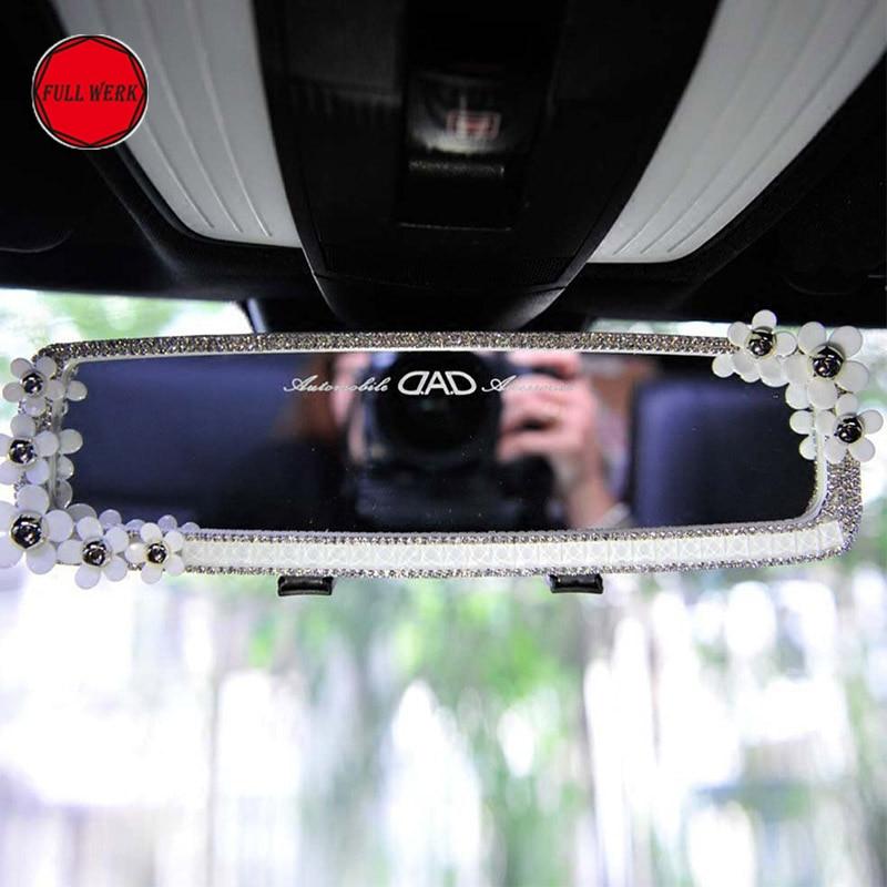 1PC Flower Decorative Car Auto Innenrückspiegel in Weiß Silber für - Autoteile - Foto 2