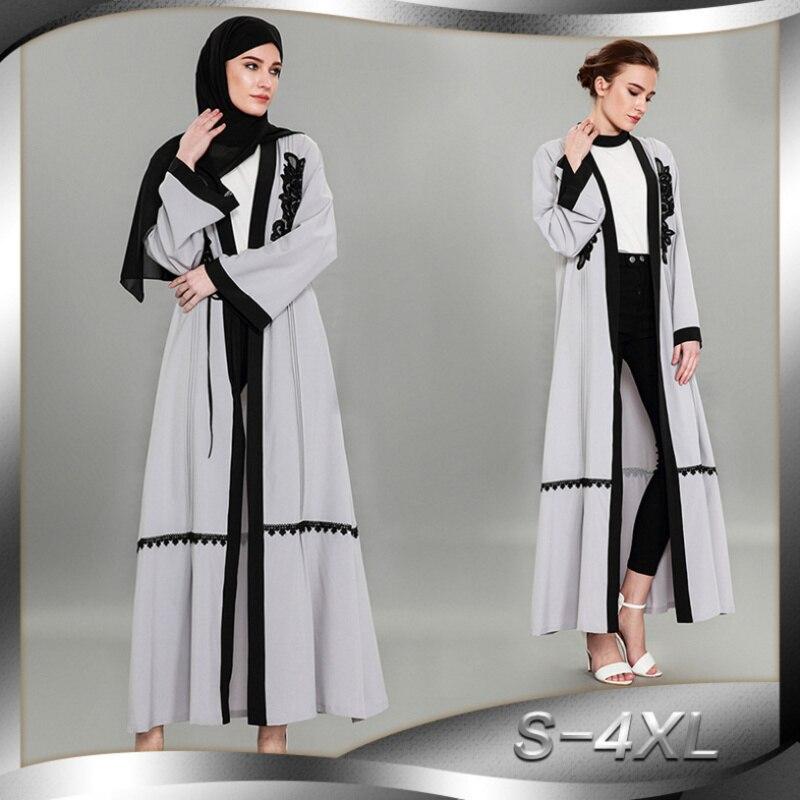 Fashion Muslim Abaya Cardigan Embroidery Lace Maxi Dress Long Robe Gowns Tunic Kimono Ramadan Islamic Clothing Worship Service