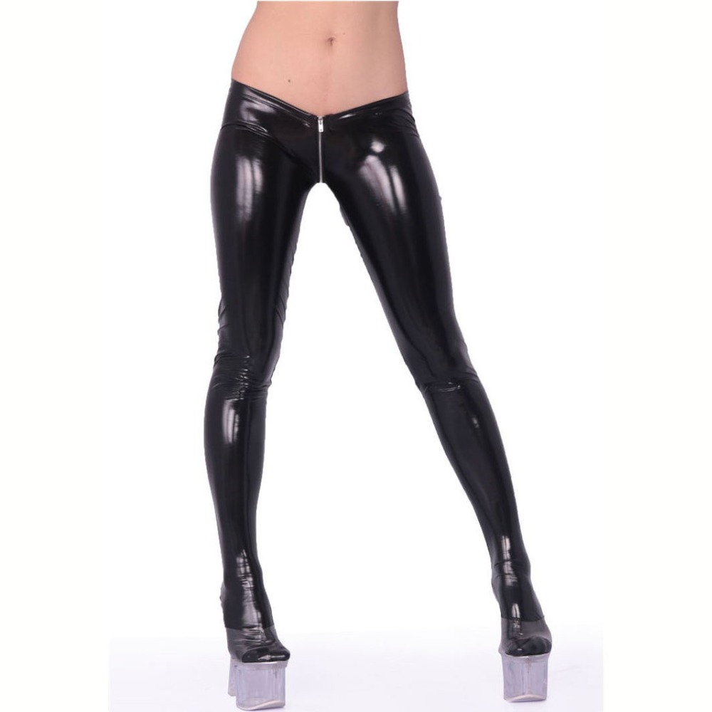 Plus Size Wetlook Sexy Zipper Crotch Ouvert Open Butt Latex Broek Punk Wet Look Push Up Leggings PVC Shiny Pantyhose Clubwear