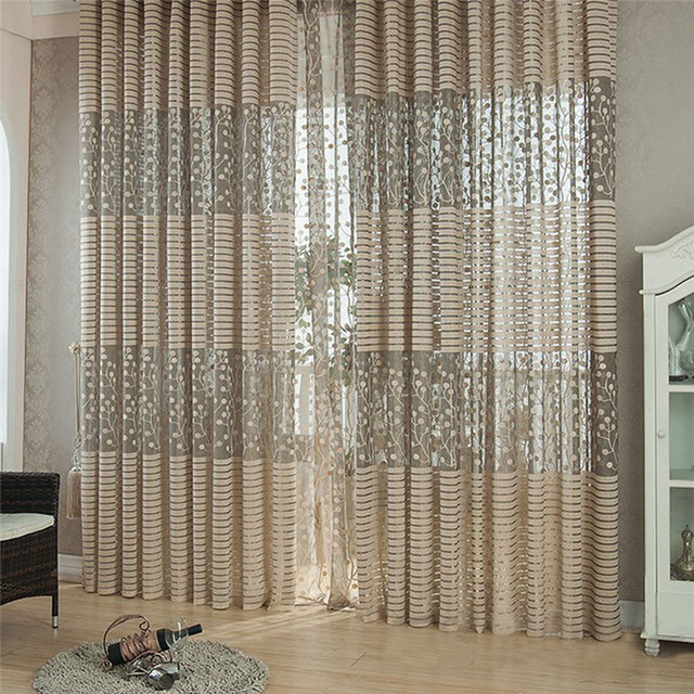 Delicieux See Through Beautiful Luxury Curtains For Modern Room Striped Floral Sheer  Curtains For Living Room Windows