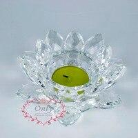 送料無料1ピースホーム装飾見事な宝石cutingクリスタルガラス蓮形状フラワーティーライトキャンドルホル