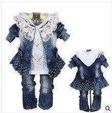 Бесплатная доставка 2016 детское платье набор высокого класса качества джинсовые девушки детская одежда Девушка Ковбой из трех частей костюм и юбка экипировка