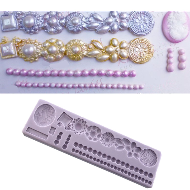 BROOCH BORDER SINGLE PEARLS AND CAMEO Fondant Cake Silicone Molds Cupcake Mould Baking Tools Chocolate Easter  Confeitaria