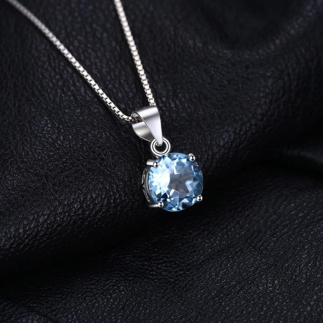 Sky Blue Topaz Silver Pendant