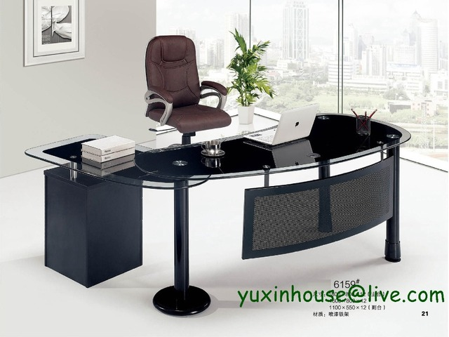 Tempered Glass Office Desk Boss Desk Table Commercial Office Furniture With  Modern Design Executive Glass Office