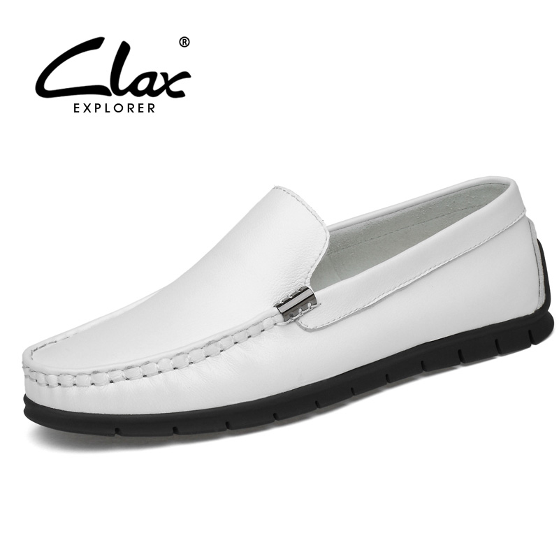 CLAX Mans Shoes Leather 2019 Summer Breathable Casual Shoe Male White Boat Shoe Mens Loafers Flat