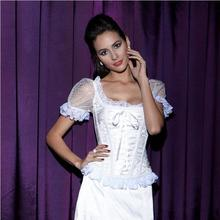 3pcs/lot Bowknots Sweetheart Lace up Back white black Girl Corset shoulder strap Boned Basque Bustier Top with Sleeve steampunk