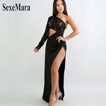 2018 Sell Through Amazon Selling Lace Stitching Asymmetric Inclined  Shoulder Sleeve Dress Sexy Dress Three Color de81603ea6dc