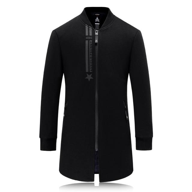 2016 de invierno de lana flaco Hombres gabardina prendas de Vestir Exteriores de la cremallera impresa Ocasional Abrigo Rompevientos Chaqueta de Los Hombres de Los Hombres