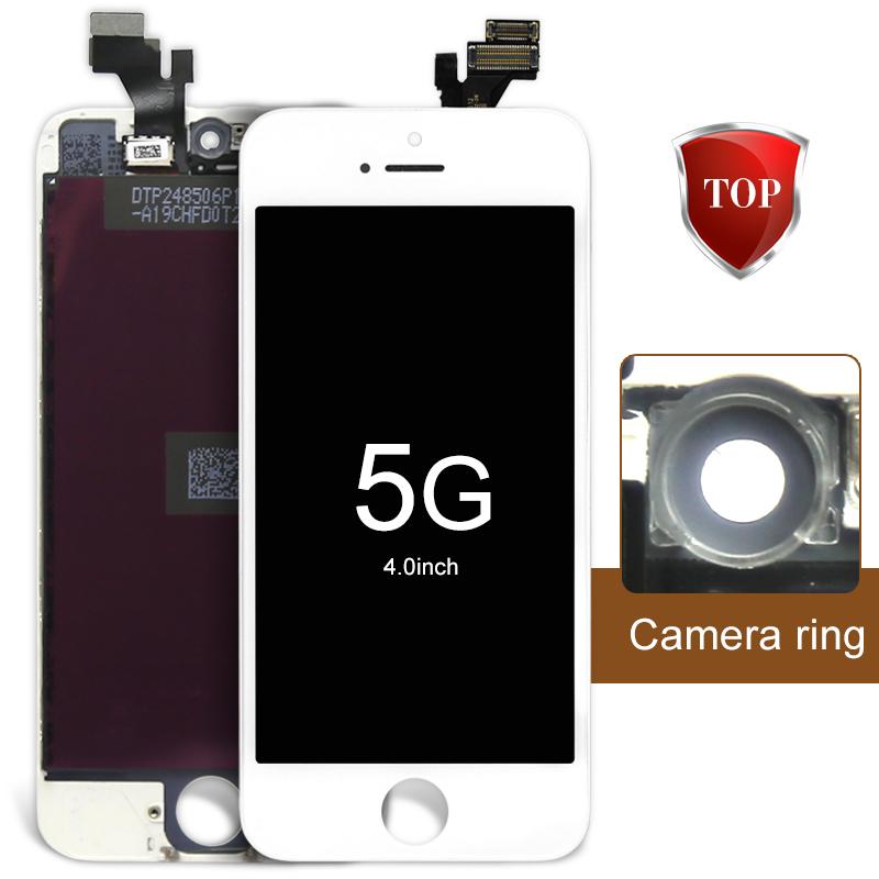 Prix pour 10 pcs aaa lcd screen display assemblée digitizer pour iphone 5 écran lcd noir/blanc tous les pièces gratuite + caméra titulaire