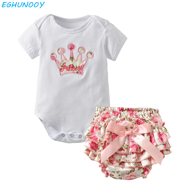 f1358e6e8eb 2Pcs set Cute Newborn Baby Girl Clothes Summer Baby Bodysuit Romper+Ruffles  Tutu Skirted Shorts Toddler Girls Clothing Outfits
