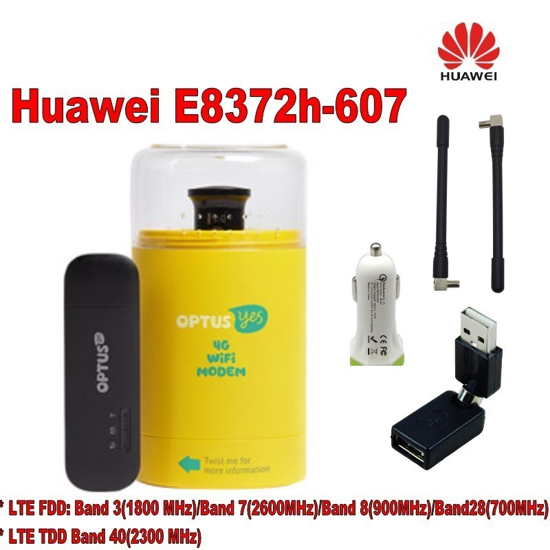 Huawei E8372h-607 LTE WiFi Stick plus car charger,2pcs 4g antenna and usb adapter lot of 2pcs huawei e8372h 517 lte wifi stick plus 2pcs antenna