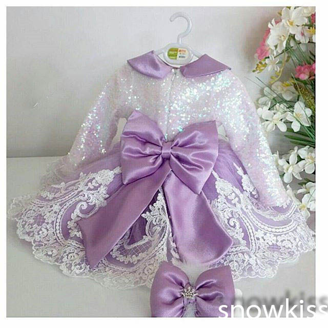 2016 Long Sleeves Lace flower girl dresses with violet Bow Baby Birthday Party Dress ball gowns toddler princess pageant dresses