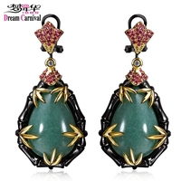 DC1989 Luxury Tradition Drop Earrings Black Gold Plated Red Cubic Zirconia Green Stone Brass Lead Free