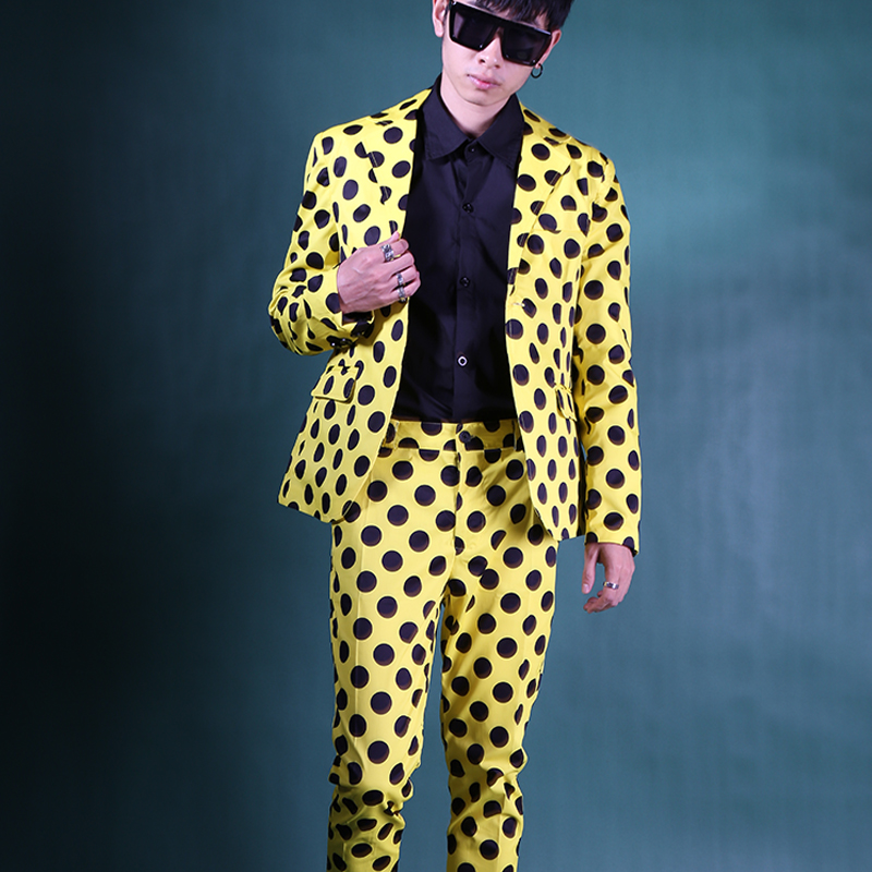 Nach Maß Männer 2 PCS Anzüge Sets (jacke + hose) männlichen Street Fashion Hip Hop Casual Slim Fit Anzug Blazer Jacke DJ Bühne Kostüme-in Anzüge aus Herrenbekleidung bei  Gruppe 1