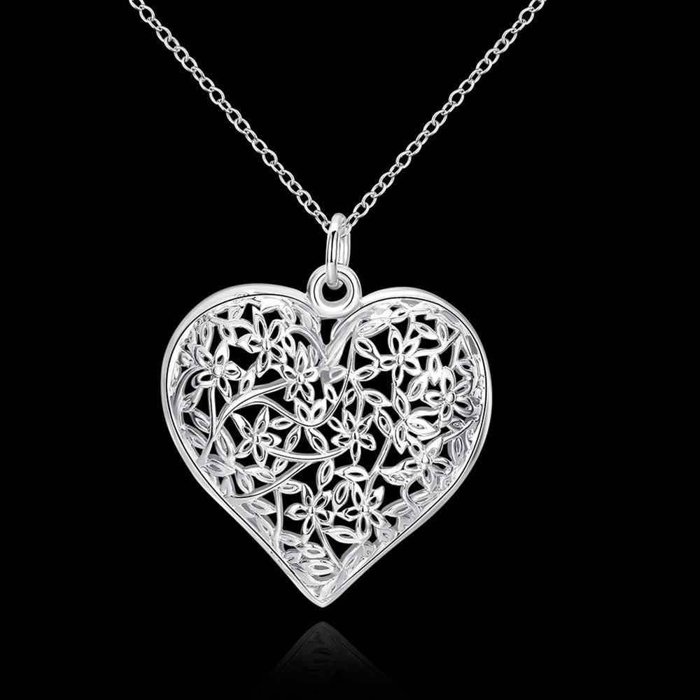 מכירה לוהטת כסף מצופה תליון עבור מתנה בצורת לב רשת פרח מסגרת קלאסי כסף תליון Femme תליוני חסר צוואר תכשיטים