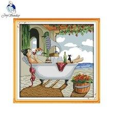 Joy Domingo Disfrutar de La Vida (3) pintura Contado O Estampado de punto de Cruz Kits de Bordado Home Decor Costura punto de Cruz R750