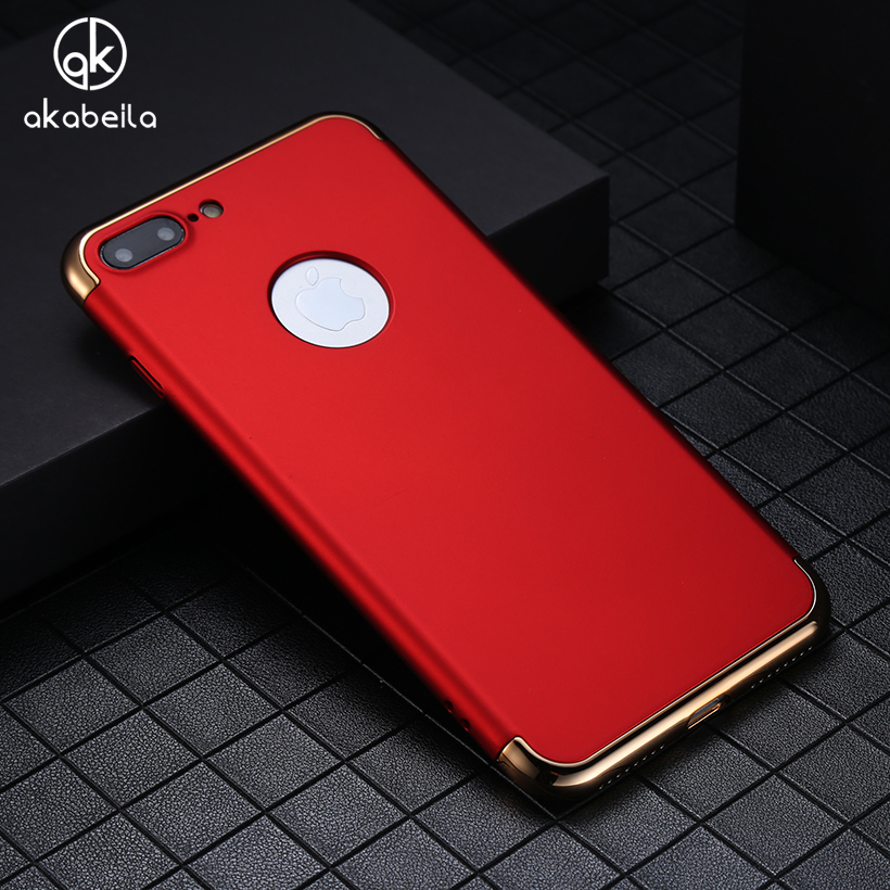 AKABEILA Plating Plastic Case Cover For Apple iPhone 7 Plus iPhone7 Plus A1661 A1784 iPhone 7 Pro Case Matte Phone Bag Plating