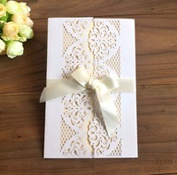 European Style Wedding Cards & invitation Greeting Card Thank you business invitation Pearl Paper with Ribbon Envelope Seals