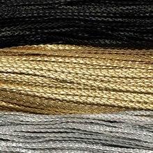 5 метров 4/6/7 мм черный/Золотой/Серебряный плоский плетеный из искусственной кожи браслет ювелирных изделий шнура Веревка DIY Изготовление браслета ожерелья