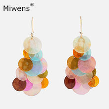 Miwens ZA 2019 Hot Sale Drop Earring Bijoux Women Statement Iridescent Flake Pendent Fashion Party Earrings Popular Jewelry(China)