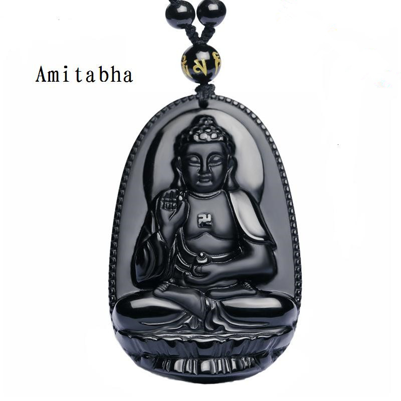 Unique High Quality Natural Black Obsidian Carved Buddha Lucky Amulet Pendant Necklace For Women Men pendants Gift Jewelry Gift