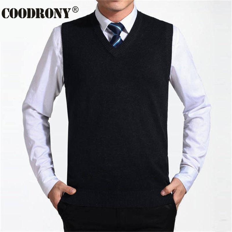 COODRONY Новое поступление Однотонный свитер жилет мужской кашемировый свитер шерстяной пуловер для мужчин бренд с v-образным вырезом без рукавов Джерси Hombre - Цвет: Черный