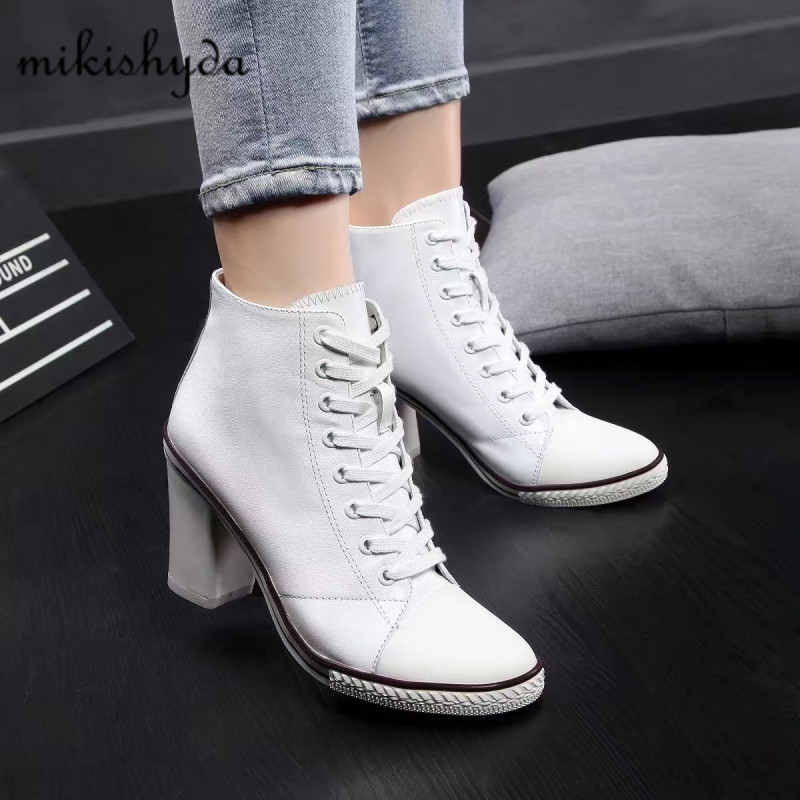 ec2b96d9022 US $109.24 40% OFF|Spring/autumn Shoes 2017 New High Shoes Casual White  Ankle Boots Chunky Coarse Boots Leather Elegant Lady Lace Up Shoe Women -in  ...