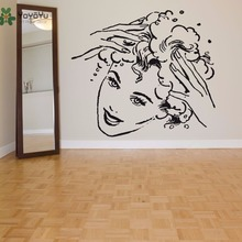 YOYOYU Hair Salon Wall Decal Vinyl Art Sticker Girl Poster Beauty Head Removeable Home Decor Mural YO591