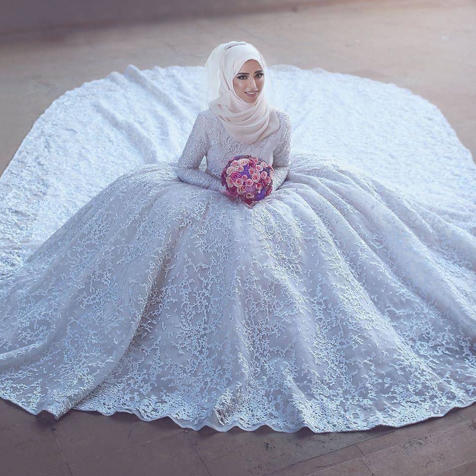 Vintage High End Muslim Brautkleider High Kragen Mit Langen Ärmeln ...