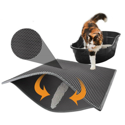 Small Medium Large Waterproof Cat Litter Mat Pad Black Cats Litter Trapper Double Layer Nonslip Eva Protect Floor Feeding Mats