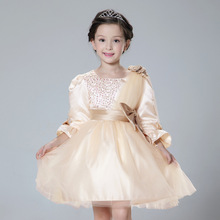 2016 новая весна девочка платье цветок блестками ну вечеринку платья 3 — 11 лет дети одежды девушки высокое качество костюм Vestidos