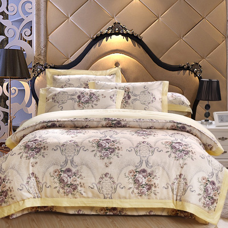 Cotton bed sheet set floral jacquard Chinese luxury bedding set queen king size boho bed set duvet cover bed linen set pillow