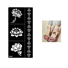1 Sheet Temporary Black Henna Lotus Flowers Stencil Tattoo Bracelet Lace Design Sex Women Makeup Tip Body Art Sticker Paper S256(China)