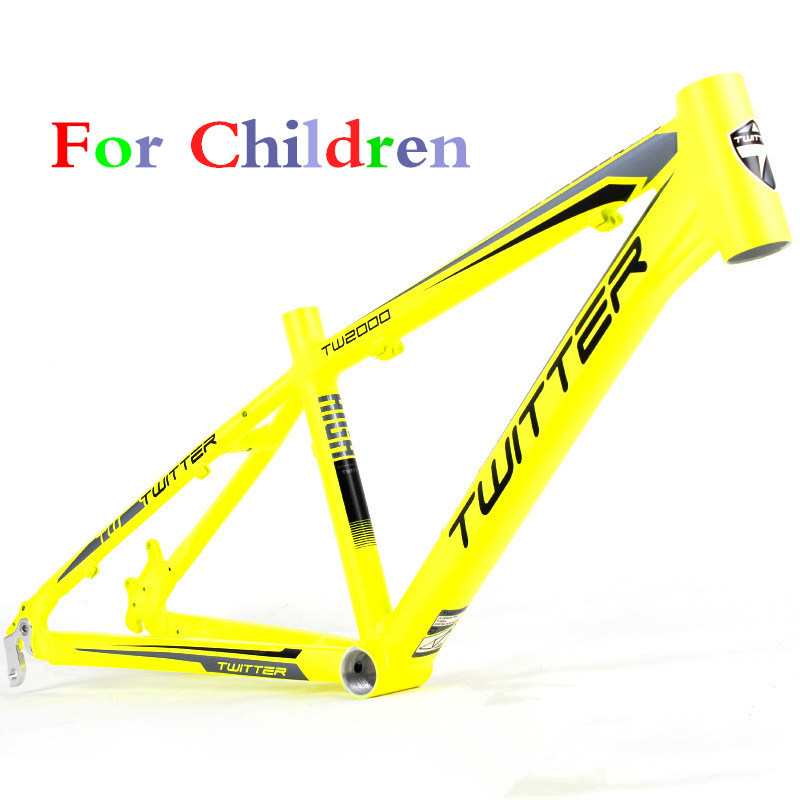Yellow Student Bicycle Frame 12inch TW2000 MTB Aluminum 7005 BMX ultra-light tapered head tube bicycle frame for children professional 7005 series aluminum tube clap long track ice blade 64hrc high quality ice skate shoes knife 1 1mm thickness frame
