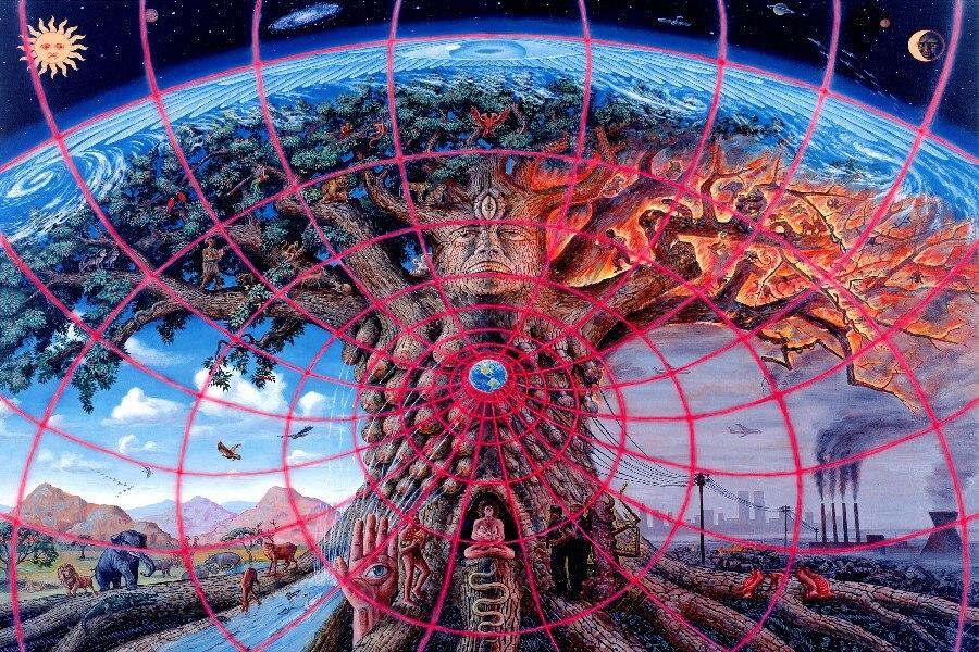 Baum des Lief Trippy Psychedelic Malerei kunst wand rahmen poster ...