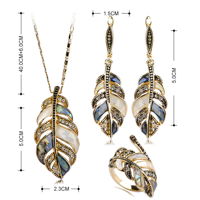 Madrry Alloy Metal Shell Crystal Jewelry Sets Necklace&Earrings&Ring Leaf Shape Party Schmuck Sets Mujer Sweater Accessories 1