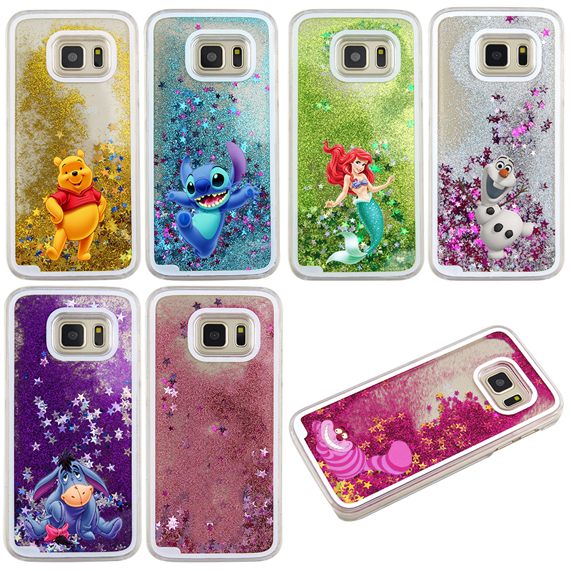 Cute Cartoon Winnie Stitch Glitter Liquid quicksand bear Stich Case For Samsung Galaxy S7 edge S8 S9 Plus Note 8 9 Cover image