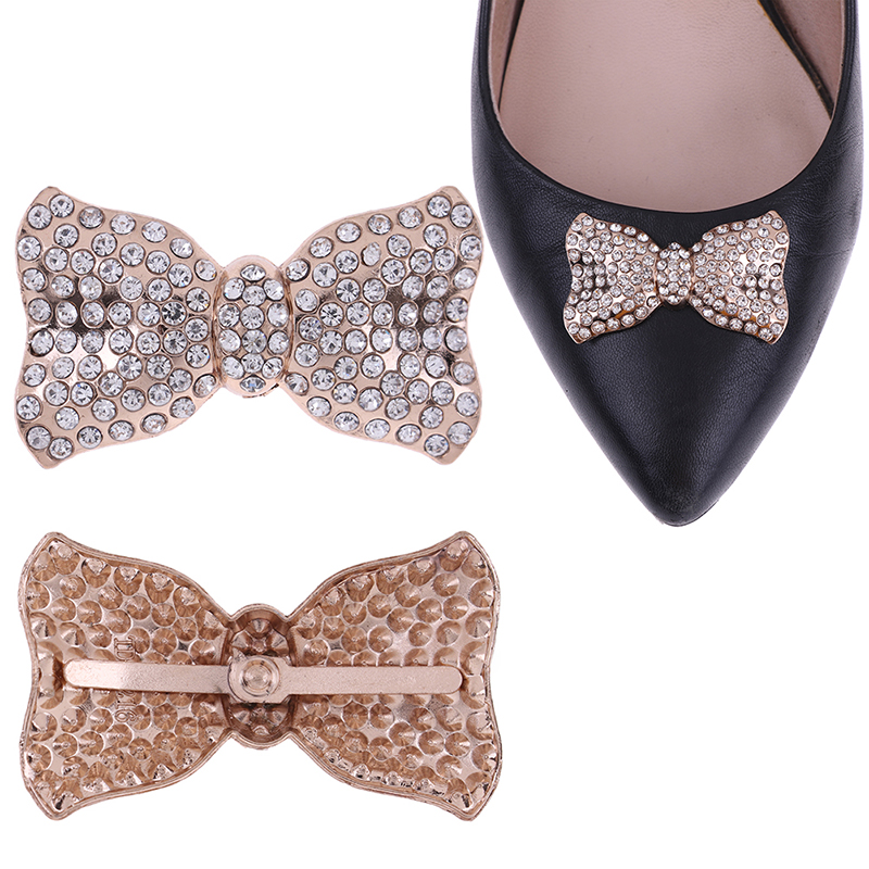 1PCS Rhinestones Crystal Decorations Women Shoes Clips DIY Shoe Charms Jewelry Bowknot Shoes Decorative Accessories