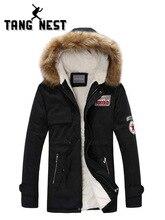 TANGNEST/Для мужчин парка пальто 2019 Для мужчин теплая корейский стиль стеганая куртка мужская с капюшоном Повседневное зимние пальто M-3XL MWM495