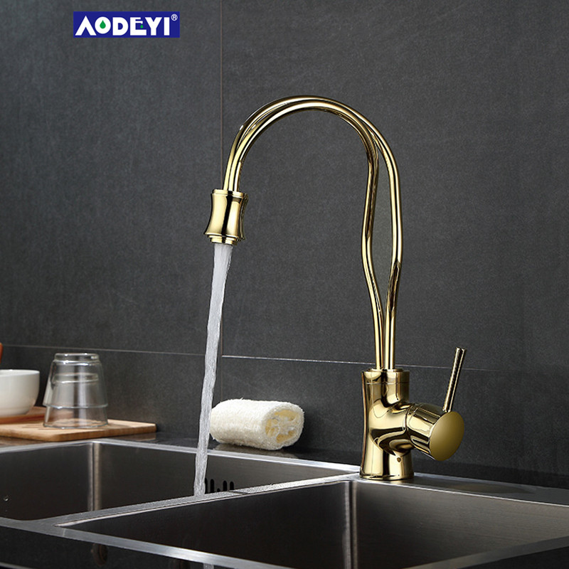 Solid Brass Bathroom Basin Faucet Hot and Cold Water Mixer Tap Single Handle Kitchen Sink Faucet donyummyjo luxury bathroom basin faucet brass golden polish swan shape single handle hot