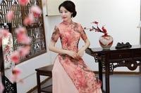 Shanghai Story 2018 Spring Aodai Vietnam Cheongsam Dress For Women Traditional Clothing ao dai With Lining Long qipao Pink