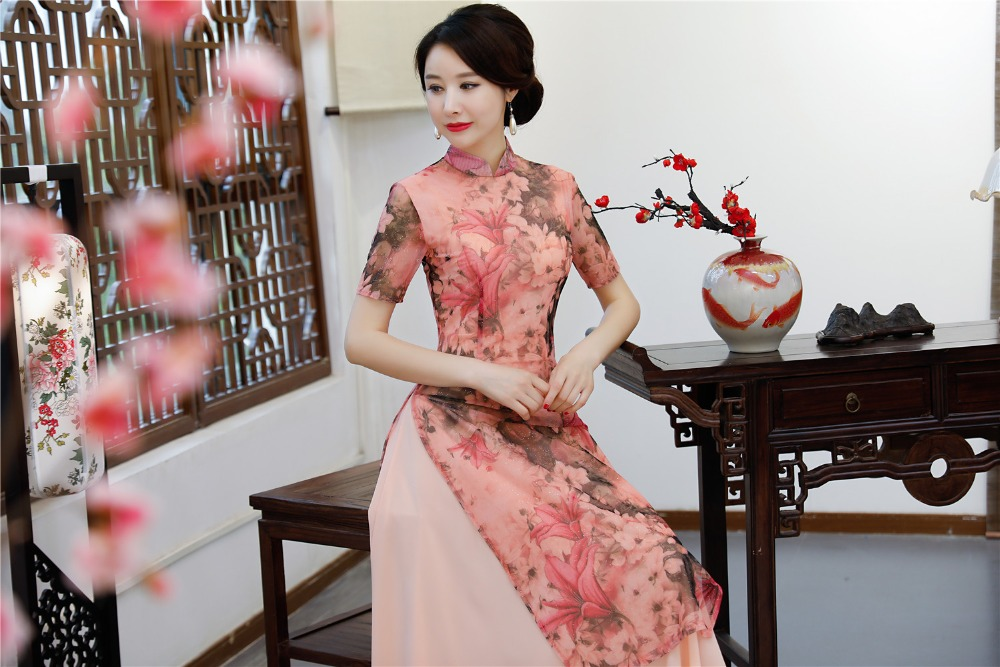 Shanghai Story 2019 Spring Aodai Vietnam Cheongsam Dress For Women Traditional Clothing Ao Dai With Lining Long Qipao Pink