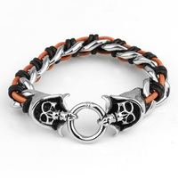 Promotion Fashion Pure Handmade Woven Leather Bracelet New Brand Double Skull Punk Wide Cuff Bracelets&Bangle Men Jewelry
