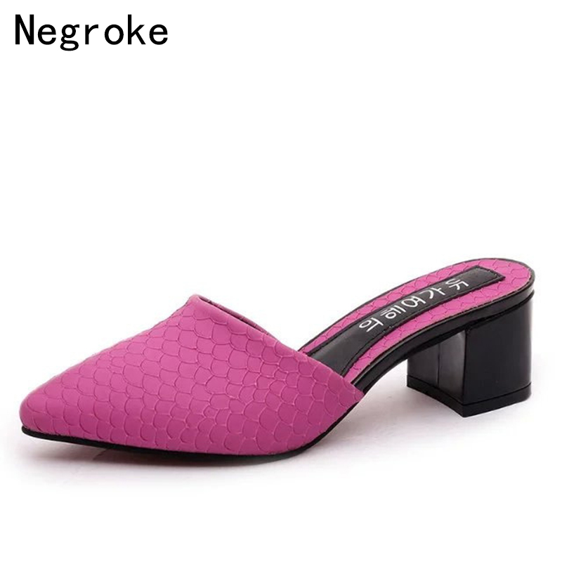 2018 Chic Women High Heels Mules Pointed Toe Block Heel Platform Mules Ladies Soft Leather Shoes Woman Sandals Slip-On Slippers women sexy high heel mules clogs pointed toe platform ladies leather sole slippers female slip on sandal shoes