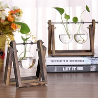 Vintage Style Tabletop Glass Vase Plant Bonsai Flower Vase With Wooden Tray Best Home Decoration