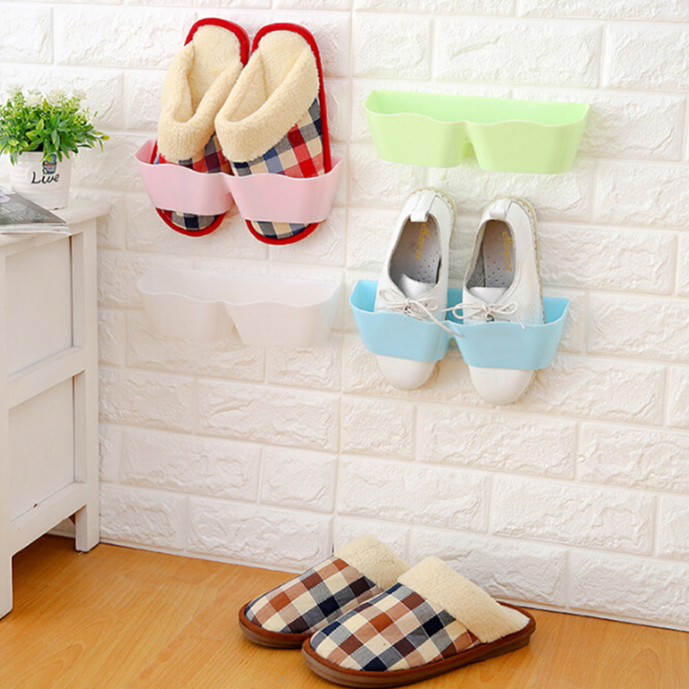2PC Candy Color Stereo Wall Shoe Rack Creative Eco-Friendly Furniture Bathroom Shelves Paste Wall Mounted Type Hanging Rack