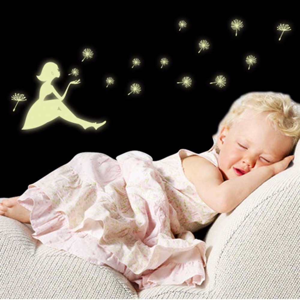2018 Home Decor Super Deal Glow In Dark Wall Sticker Dandelion Girl Luminous Fluorescent Stickers Wall Decals Mural Kids Room