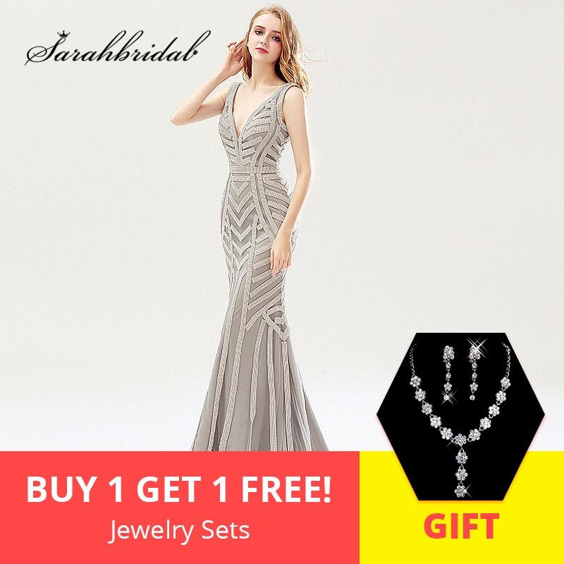 009f534781a Brillant argent perles sirène robes de soirée Sexy Tulle v cou longues  femmes robe de soirée