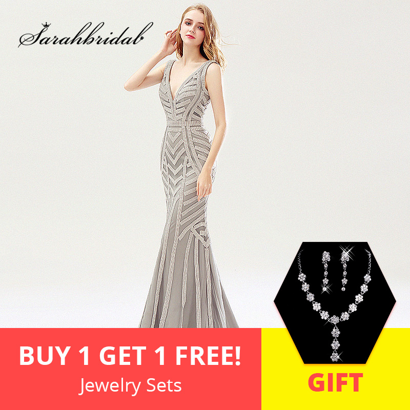 Shining Silver Beading Mermaid   Evening     Dresses   Sexy Tulle V-Neck Long Women Formal Party   Dress   Luxury Maxi Prom Gowns OL476